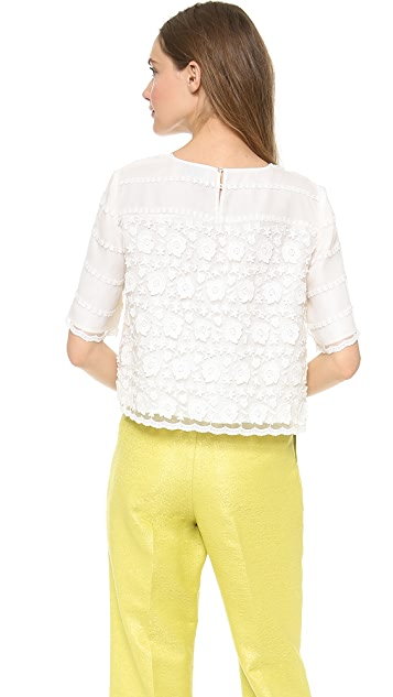 Leur Logette Stripe Flower Embroidery Pullover