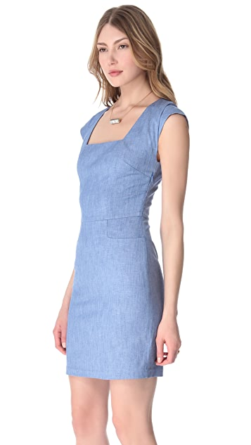 L'AGENCE Square Neck Pocket Dress