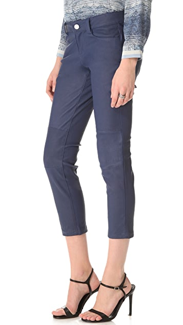 L'AGENCE Cropped Leather Jeans