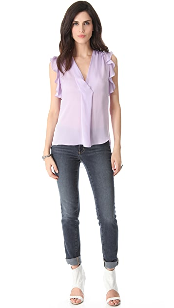 L'AGENCE Ruffled Draped V Blouse