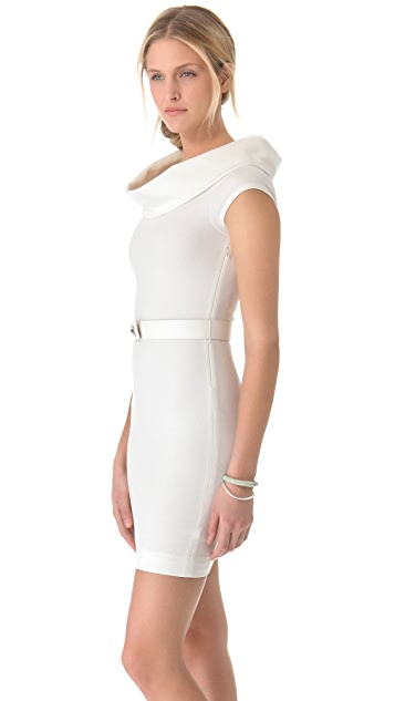L'AGENCE Fitted Off Shoulder Cowl Dress