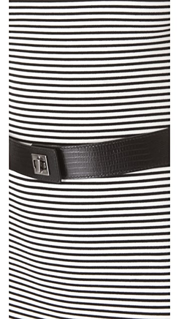 L'AGENCE Stripe Fitted Dress with Belt
