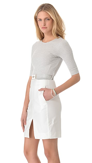L'AGENCE Striped Bodice Dress