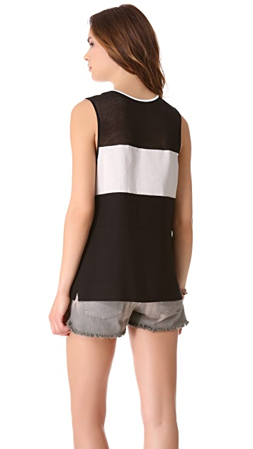 L'AGENCE Sleeveless Top with Mesh Insets