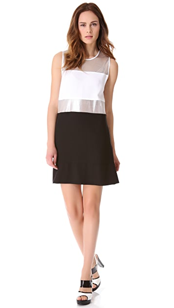 L'AGENCE Sleeveless Dress with Mesh Insets