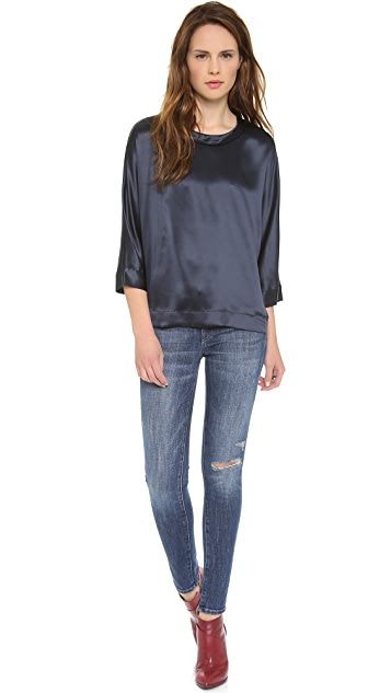 L'AGENCE Rolled Collar Dolman Top