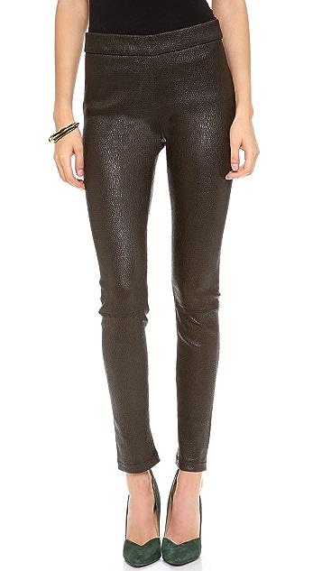 L'AGENCE Stretch Seersucker leather Leggings
