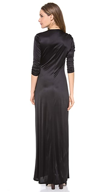 L'AGENCE Long Sleeve Deep V Dress