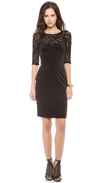 L'AGENCE Velvet Dress with Knitted Mesh Detail