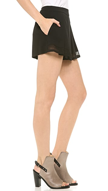 L'AGENCE Flutter Short with Mesh Hem