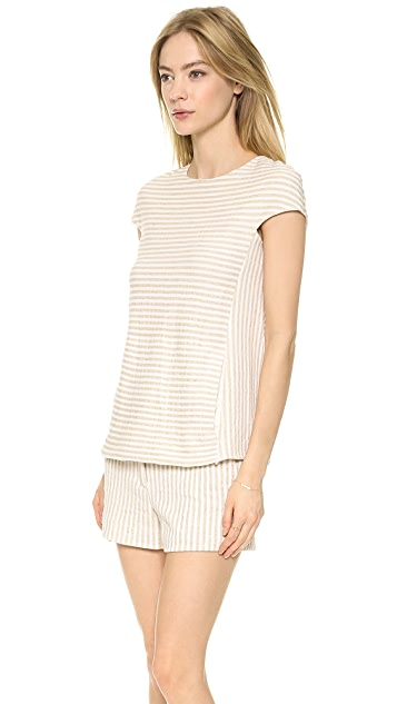 L'AGENCE Cap Sleeve Zip Back Top