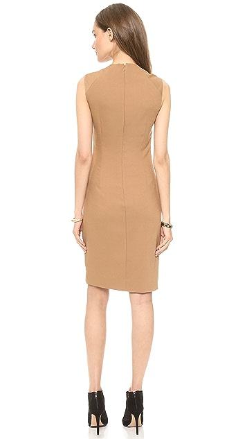 L'AGENCE U Neck Pleated Side Dress