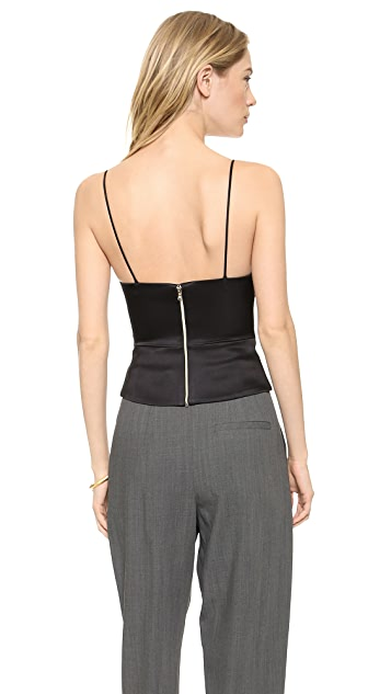 L'AGENCE Spaghetti Strap Fitted Crop Top