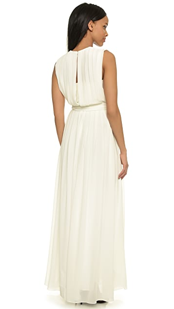 L'AGENCE Long Deep V Pleated Dress