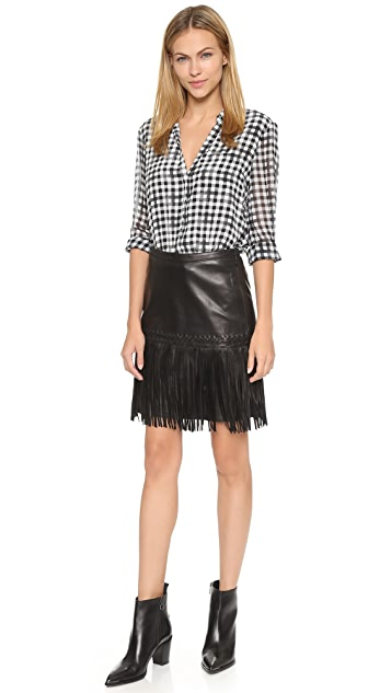 L'AGENCE Leo Leather Fringe Skirt