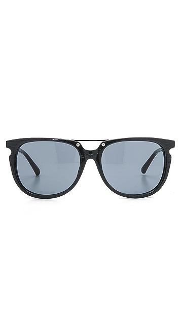 Linda Farrow for 3.1 Phillip Lim Grey Wood Grain Sunglasses