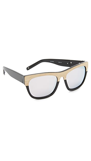 Linda Farrow for 3.1 Phillip Lim Wood Frame Square Sunglasses
