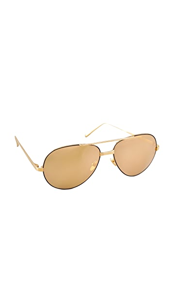 Linda Farrow Luxe 24 Karat Gold Sunglasses