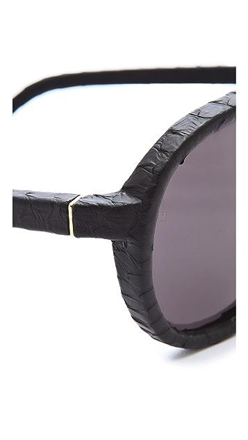 Linda Farrow Luxe Snakeskin Aviator Sunglasses