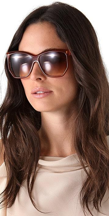 Linda Farrow Luxe Angled Oversized Sunglasses