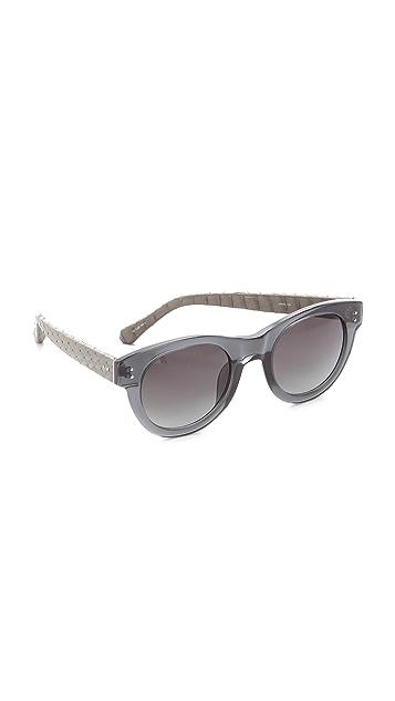 Linda Farrow Luxe Snakeskin Square Corner Sunglasses