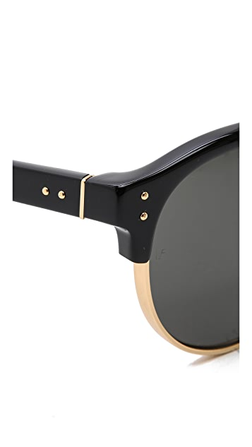 Linda Farrow Luxe Round Rimless Edge Sunglasses
