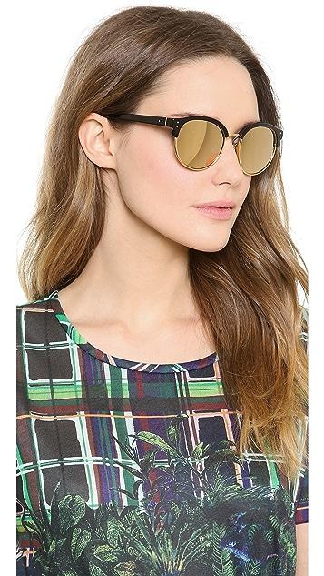 Linda Farrow Luxe Round Rimless Edge Sunglasses