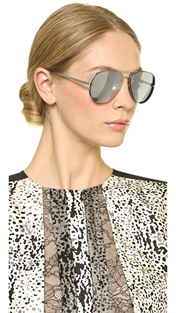 Linda Farrow Luxe White Gold Mirrored Aviators