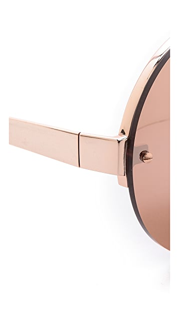 Linda Farrow Luxe 18k Rose Gold Round Sunglasses
