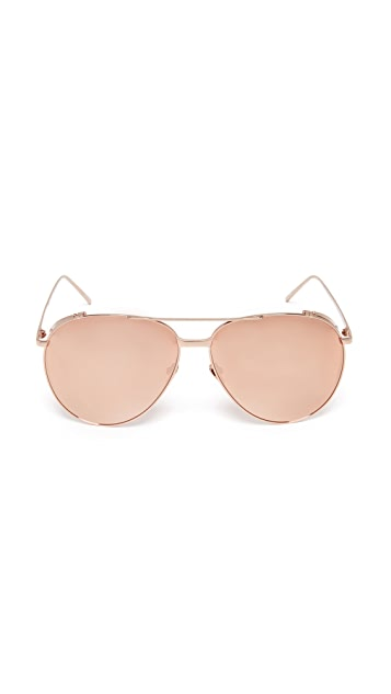 Linda Farrow Luxe 18k Rose Gold Plate Mirrored Aviator Sunglasses