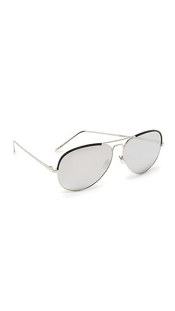 Linda Farrow Luxe Top Rim Platinum Aviator Sunglasses