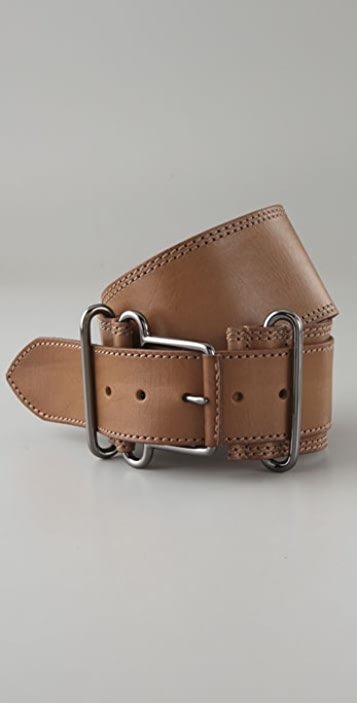 Linea Pelle Wide Waist Belt with Military Buckle