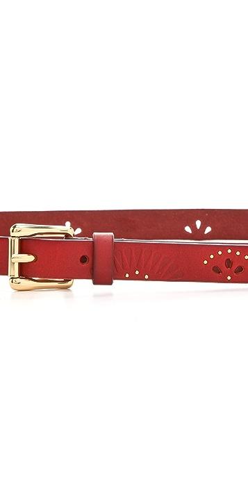 Linea Pelle Ricky Perf Embossed Studded Belt