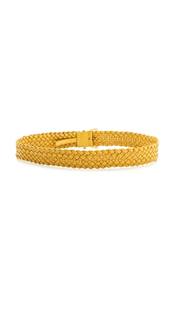 Linea Pelle Braided Hip Belt with Straight Metal Top