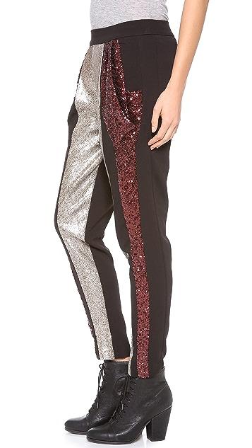 Line & Dot Colorblock Sequin Pants