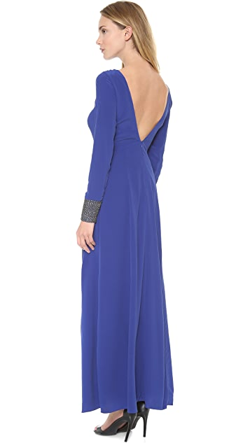 Line & Dot Deep Slit Maxi Dress
