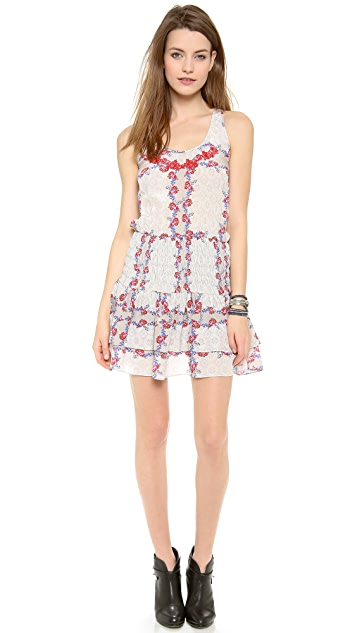 Line & Dot Ruching Mini Flare Dress