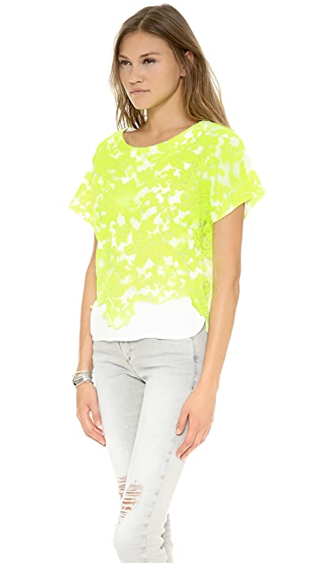Line & Dot Embroidery Layered Top