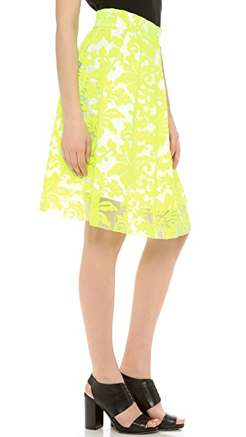 Line & Dot Embroidery Layered Skirt