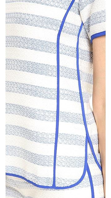 Line & Dot Contrast Binding Top