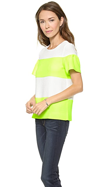 Line & Dot Shirred Sleeve Top
