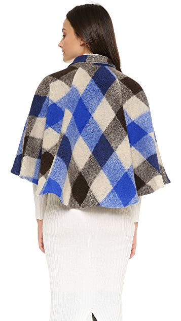 Line & Dot Plaid Cape