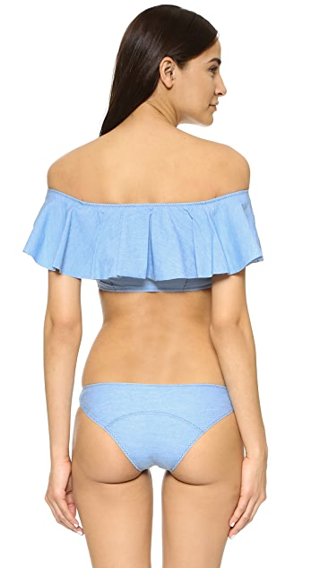 Lisa Marie Fernandez Mira Denim Flounce Bikini