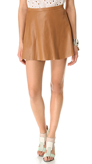 Love Leather Camel Mini Skirt