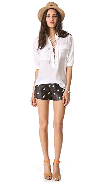 Love Leather Flamingo Print Leather Shorts