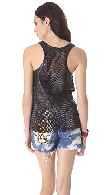 Love Leather Paris Leather Mesh Tank