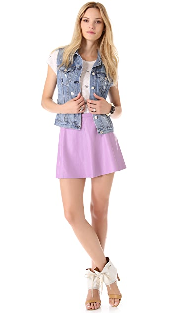 Love Leather Lilac Pop Leather Miniskirt