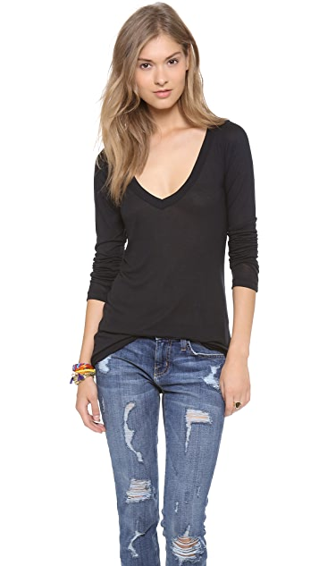 LNA Classic Long Sleeve V Neck Tee