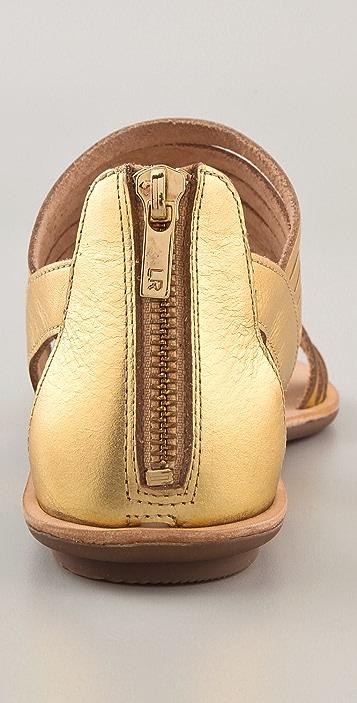 Loeffler Randall Heart LR Sam Metallic Flat Sandals