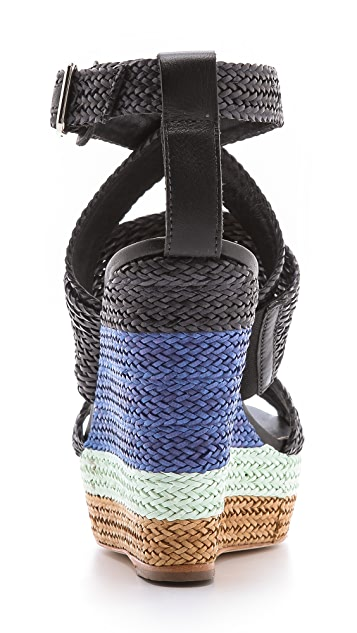Loeffler Randall Lake Strappy Wedge Sandals